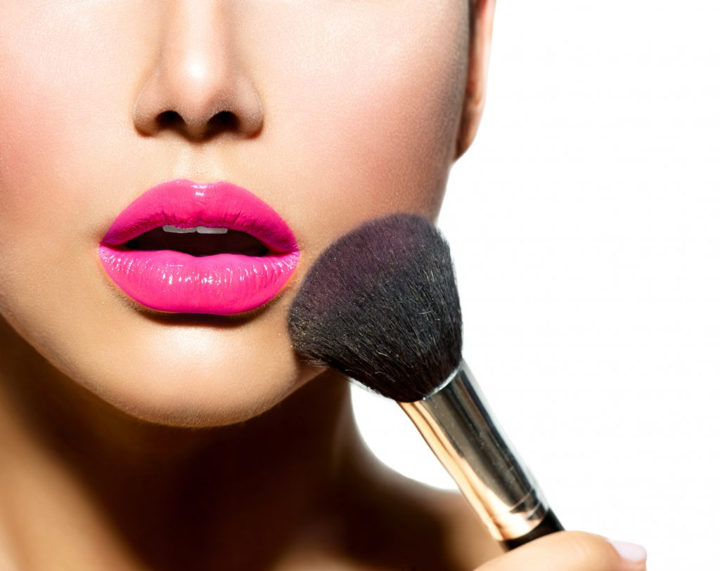 Make-up Applying closeup. Cosmetic Powder Brush for Make up